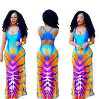 Long Dresses Women Fashion Printed Plus Size Vest Designs 90320-MX71