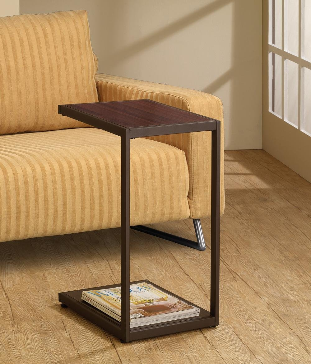 Modern Style Snack Table With Faux Wood Top And Metal Base In Dark Brown Finish. (Item# Vista Furniture CF901007)