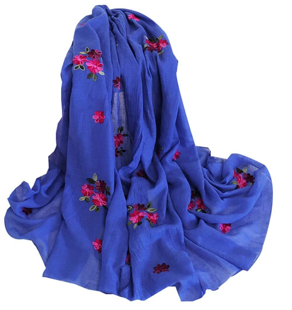 Women Dual-use Shawl Scarf Embroidered Shawl Thick Warm Scarf Scarves,Blue