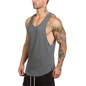 95% cotton 5% spandex black tank top muscle stringer men's tank top