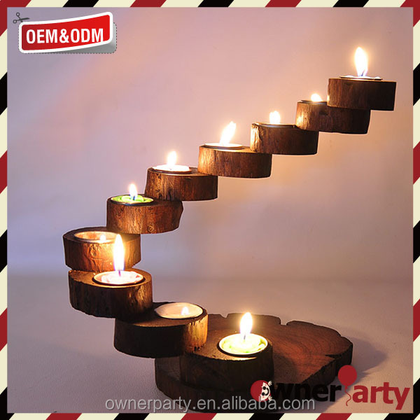 Customized wholesale Eco Friendly Wooden Antique Candle Holders
