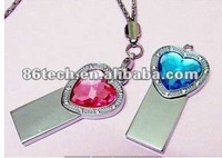 OEM Jewelry necklace Crystal pendant usb drive personalized designs