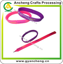 China Factory Silicone Material Glitter Promotional Bracelet Pen with Logo
