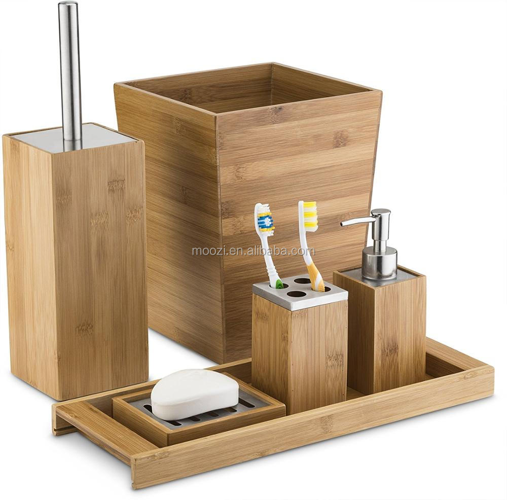 Wood Bath Gift Set Bathroom Accessories Set Soap Dispenser