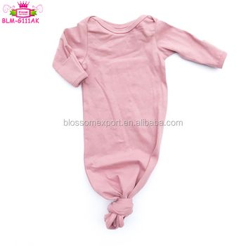 Wholesale Boutique Baby Sleep Wear Clothes Solid Color Long sleeve Cover the Baby Hand Infant Knot Gowns