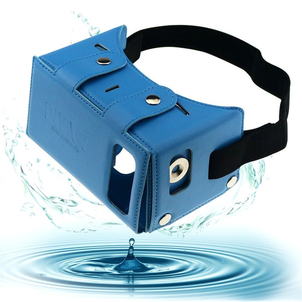 """Sminiker Waterproof Google Cardboard Kit,PU leather DIY 3D Glasses,3D Vr Virtual Reality Glasses ,Google Box for iPhone Samsung and Other 4.0-5.5"""" Smartphones with Headband (Blue)"""