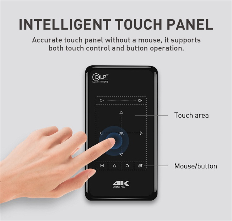 Komersial Harga Touch Panel Remote Control DLP 4 K Decoding Multimedia HD Input Smart Mini Saku
