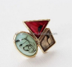 2014 Fashion Vintage Colorful Geometric Gem Women's Alloy Finger Ring