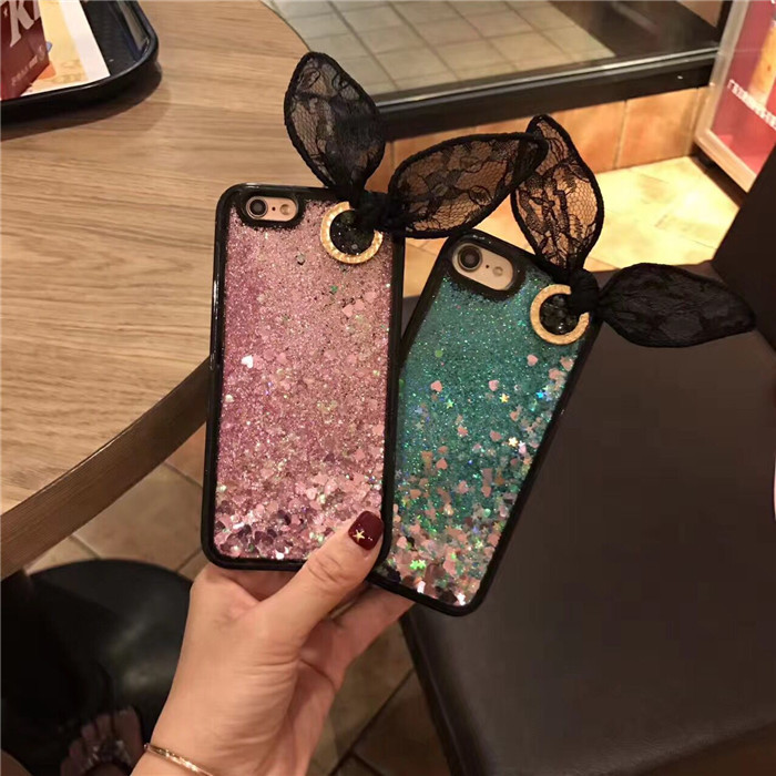 Dropshipping Sexy Lace 3D Rabbit Ear Quicksand Liquid Glitter TPU PC Mobile Phone Case for iPhone 8 8plus 7 7plus 6 6plus