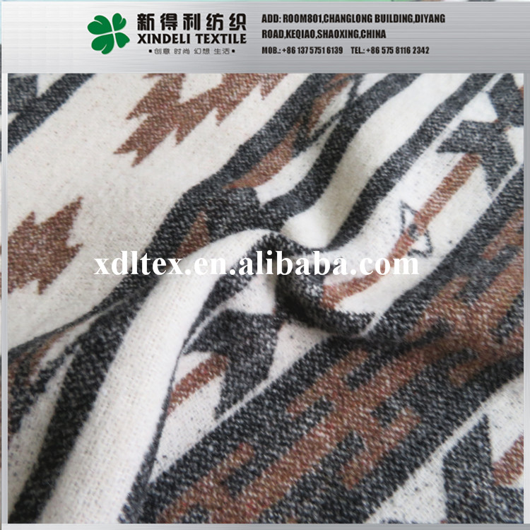 5% Wool, 95% Synthetic alpaca wool jacquard brushed woolen upholstery fabric