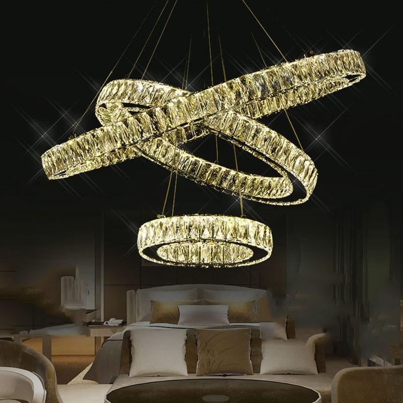 Charmant Luxus Doppel Ringe Kristall Lampe Für Esszimmer Oval Moderne Wohnzimmer  Kristall Kronleuchter Beleuchtung LED Lüster