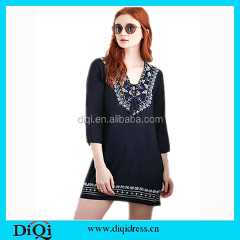 Ladies Latest Design Top Stitch Embroidery Girls Top Wear Boho Style