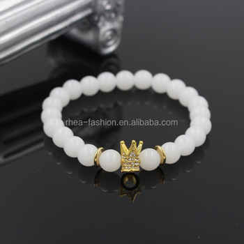 Fashion White Jade Stone Bead Bracelet Men 18k Gold Plated Micro Pave Crystal Crown Charm Elastic