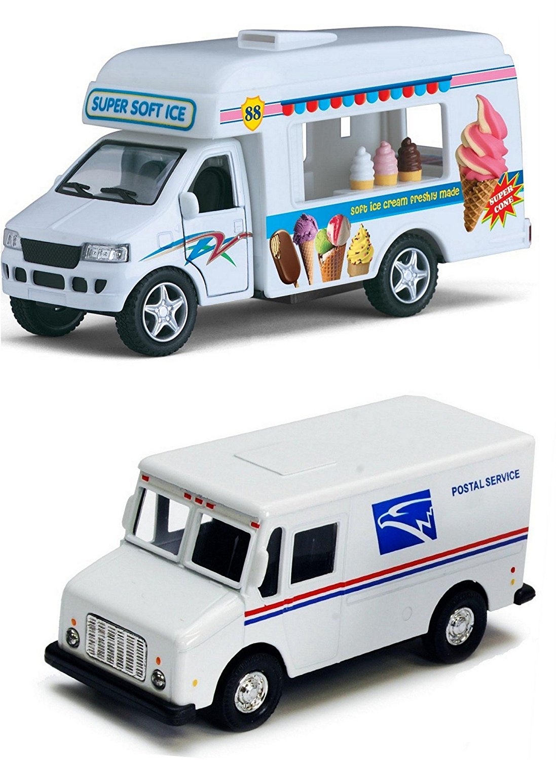 Ice Cream Truck and Mail Postal Service Truck Set of 2 - 1/46 Scale (5-inches) with Pullback Action & Authentic USPS Graphics