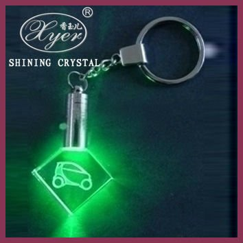 pretty crystal keychain with led light