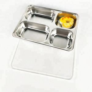 4 compartment hospital food tray stainless steel deep fast food tray with plastic lid