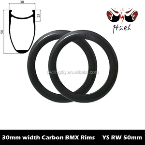 30mm wide 20er carbon child's rims 50mm deep BMX rims, ETRTO BSD 406mm carbon BMX rims factory direct selling