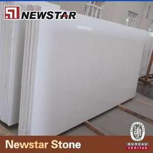 Newstar precut custom Wholesale Engineered faux white quartz stone slabs for kitchen countertops and bathroom vanity tops