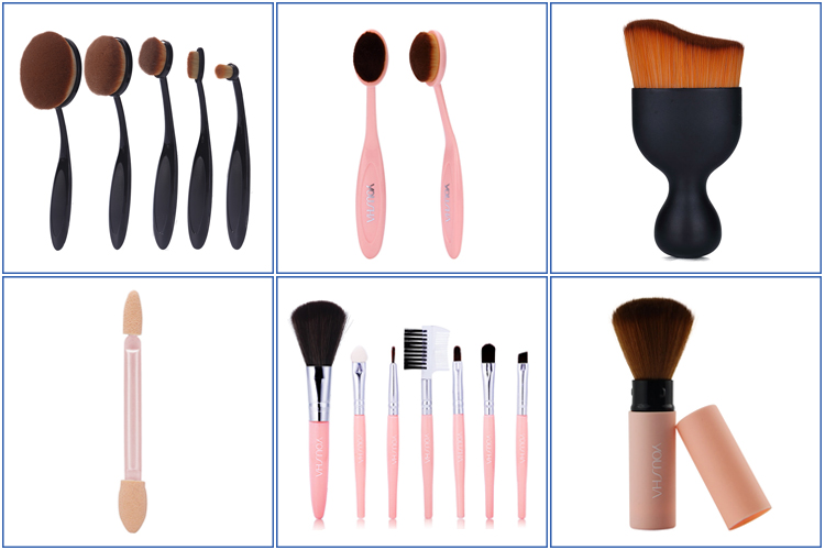 High quality custom label travel black cosmetic makeup brush set