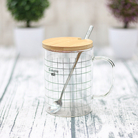 Wholesale Nordic Style Borosilicate Sub-Glass Cup with Wood Cover and Spoon Flower Tea Cup