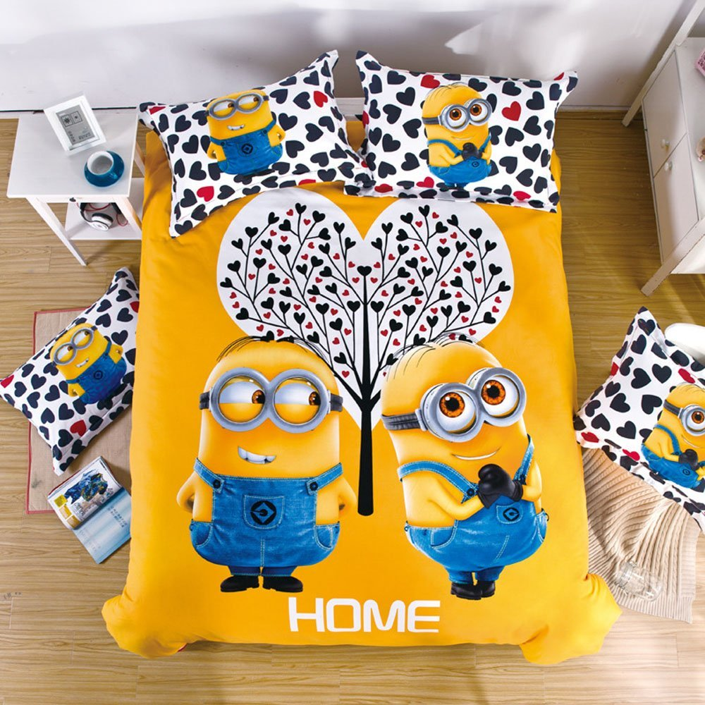 2016 New GREENEARTH Despicable Me Cotton Cartoon Bedding set 4pcs: 1pc flat Bed Sheet+1pc comforter Cover( comforter is not included)+ Pillowcases Reactive Dyeing Twill Weave