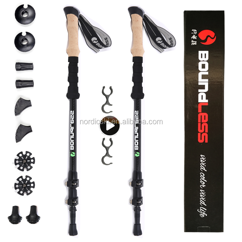 High quality carbon telescopic hot hiking stick trekking pole walking stick