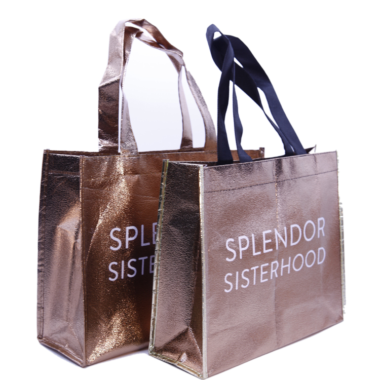 Custom Design Printing Recycle Bag Foldable Laminated Metallic Non Woven Shopping Bag