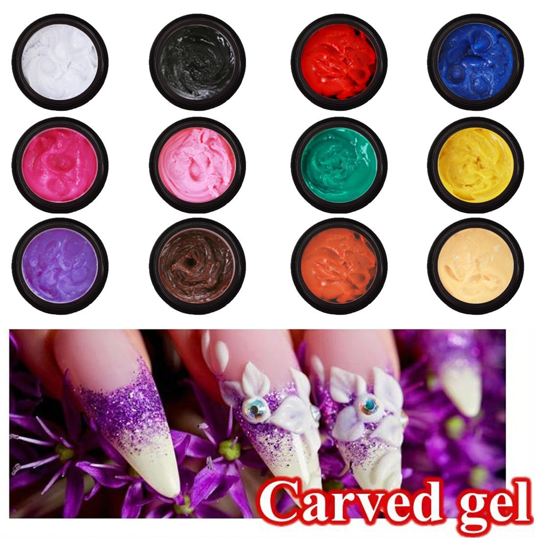 Perfect Summer 12pcs 12 Colors Sculpture Phototherapy Painting Carved Glue Gel Creative Nail Art Modeling Decor New 2016 nail polish 3D UV Gel