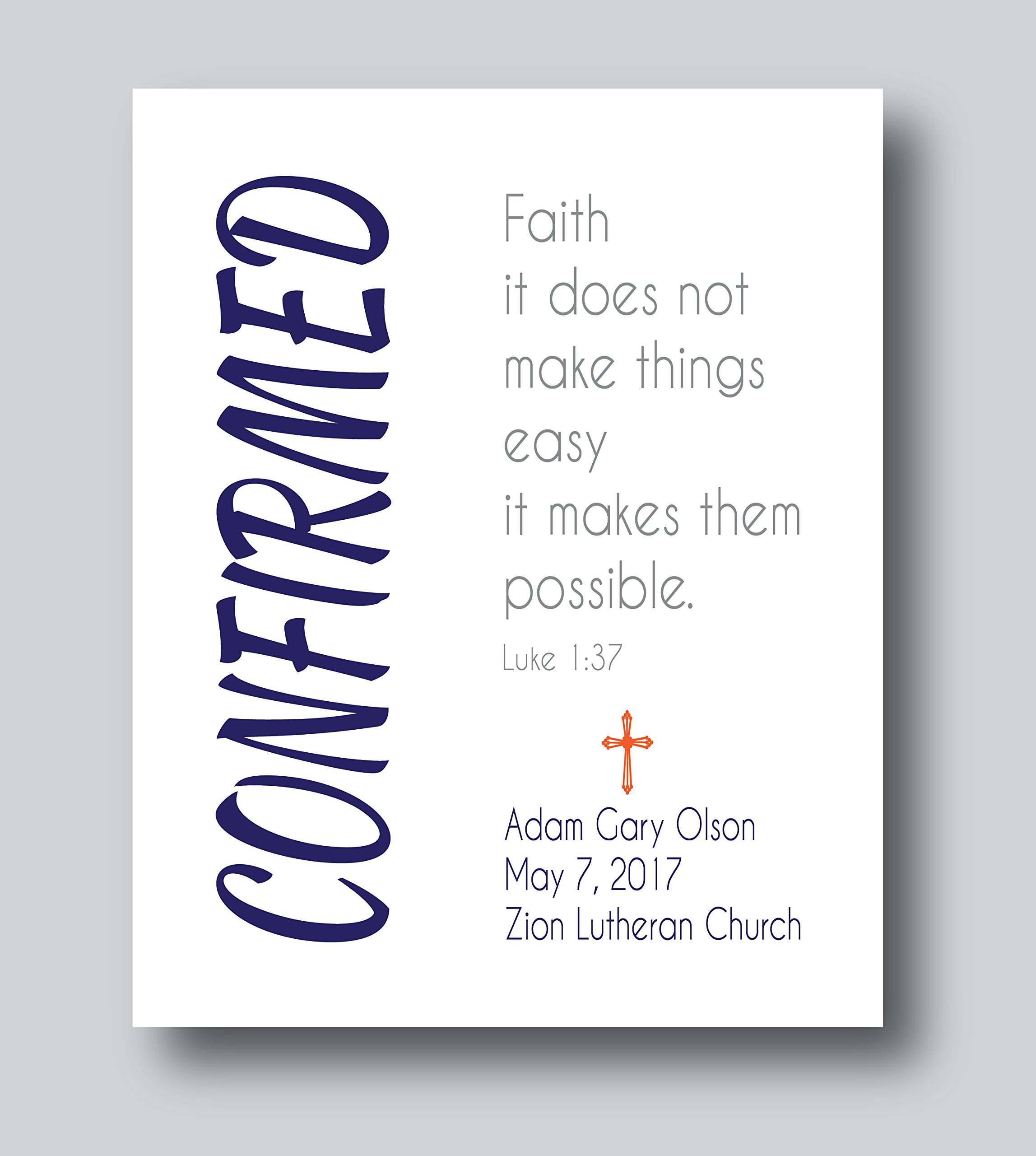 Get Quotations · Personalized Confirmation Gifts For Boys, First Communion Gifts For Boys, 8x10 or 11x14 Print
