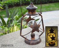 New-Outdoor Candle Metal Lantern Solar Powered Light Garden Yard Lamp