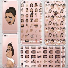 Unique Design Ugly Crying Face KIMOJI Case For iphone 6 6s Transparent Silicone Cell Phone Cases Cover