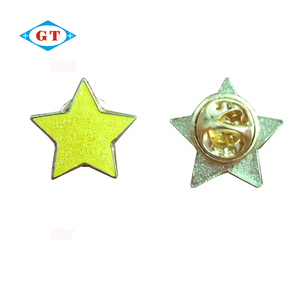 Cheap gold star enamel epoxy metal pin badges with glitter