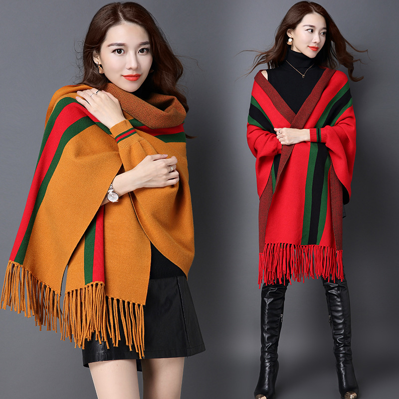 QAZ23 Women Poncho Cashmere Wool Scarf Cape Plaid Winter Check Blanket Poncho bufanda