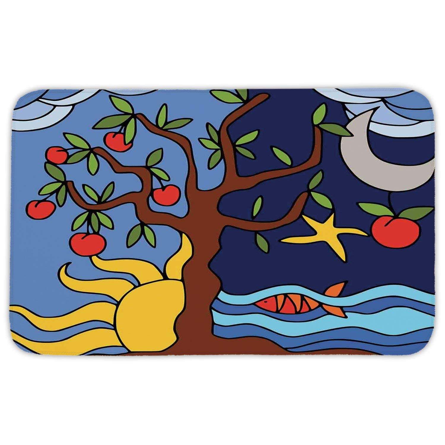 Get Quotations Rectangular Area Rug Mat Tree Of Life Past Ilration Starry Night And