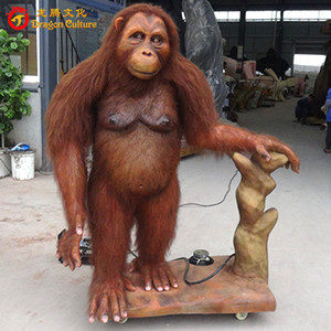 Amusement park realistic life size animatronic orangutan model for display