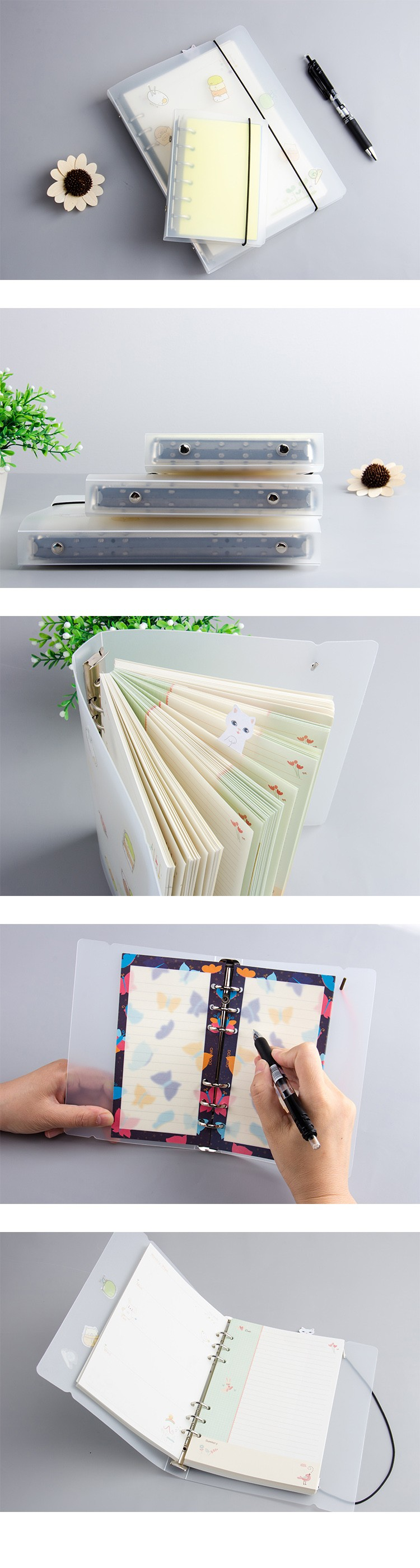 Eco -friendly pp custom simple Loose-leaf plastic notebook jacket covers for school notebook