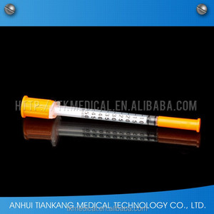 medical single-use insulin syringe u-40/u-100