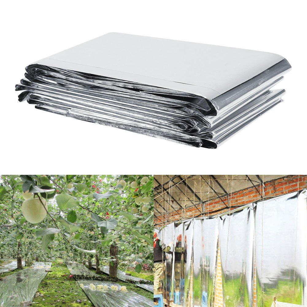 (Pack of 2) Silver Plant Reflective Film Garden Greenhouse Grow Light Accessories New (82.68in47.24in)
