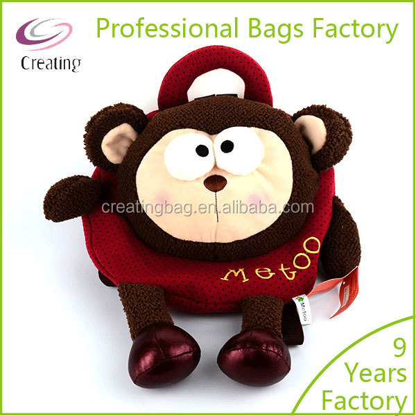 Christmas Monkey Shaped Plush Animal Backpacks for kids