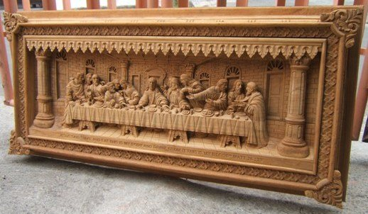 Last supper wood carving relief buy religious craft product on