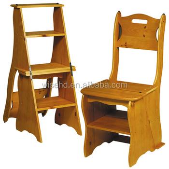 W c 437 Grenen Hout Bibliotheek Stap Ladder Stoel Buy Ladder Stoel,Houten Ladder Stoel,Bibliotheek Stap Stoel Product on