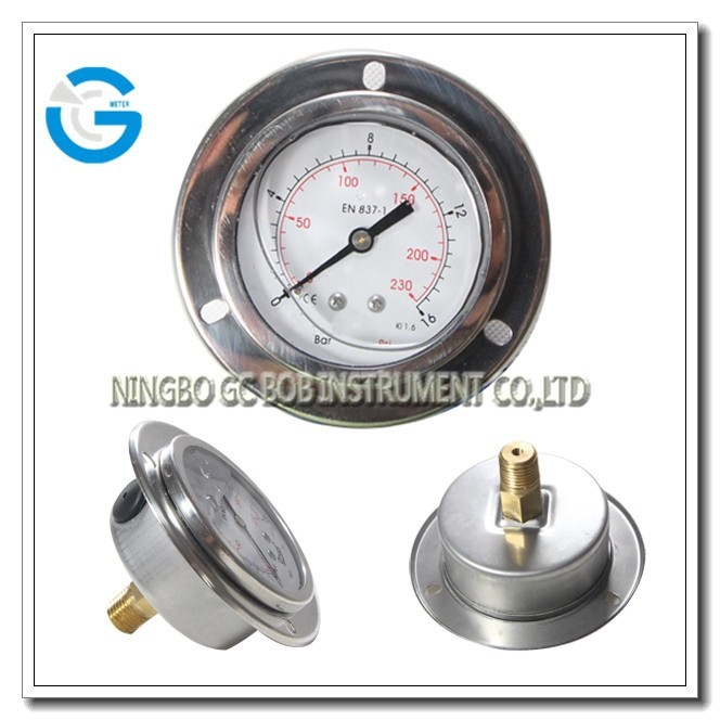 High quality 63mm brass internal surface mount pressure gauge with front flange