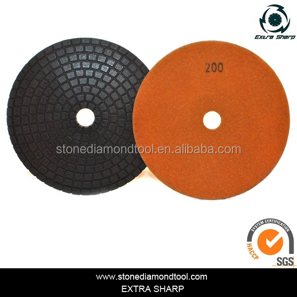 Wet Granite Floor Buffing Pads Abrasive Polisher Pad With Loop Backed