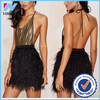 Yihao 2015 wholesale new fashion women black birds feather mini skirt