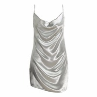 New Fashion Women Satin Slip Dress Pile Collar Strappy Back Zip Party Cocktail Slim Mini Dress Silver