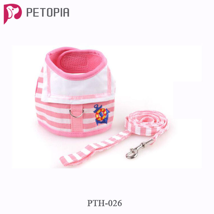 Small Pet Dog Cat Harness with Leash Cartoon Puppy Soft Mesh Padded Vest Harness