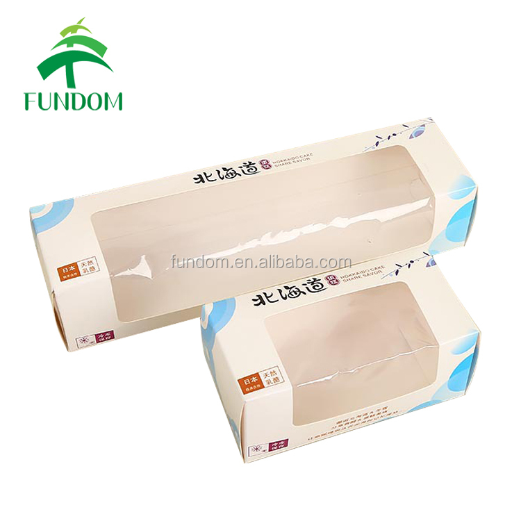 printed glossy PVC window long retail and distribution food grade bakery shop cake roll food packing paper bulk boxes for sale