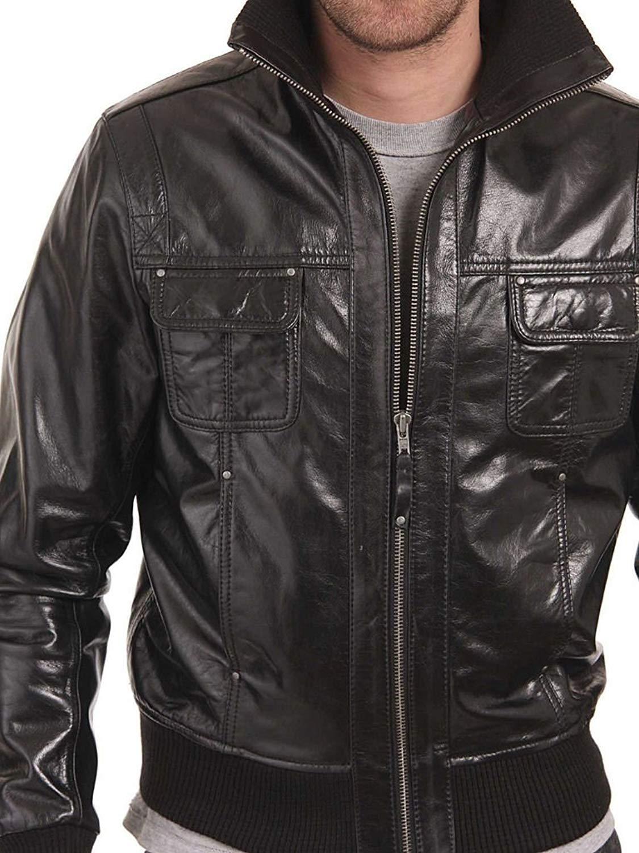 Noora Men's 100% Pure Leather Jacket Slim Fit (Custom Made Leather Jacket)