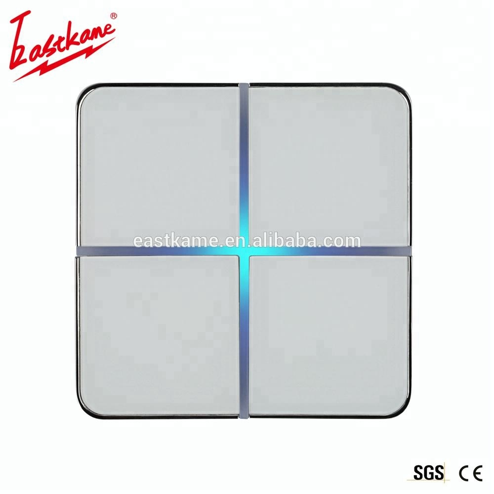 Thin White 2 Gang Crystal Glass Panel Switch 433mhz Wifi