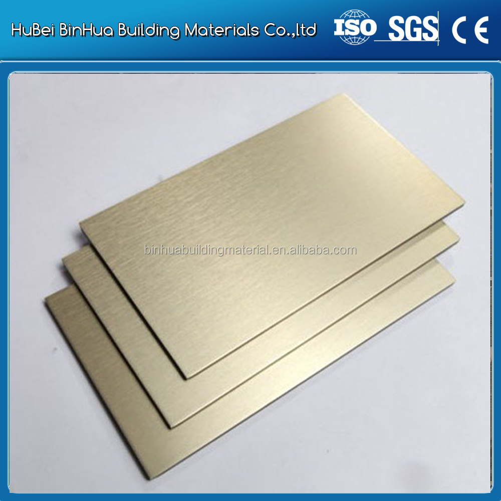 Brushed Gold Aluminum composite panel for interior decoration at hall